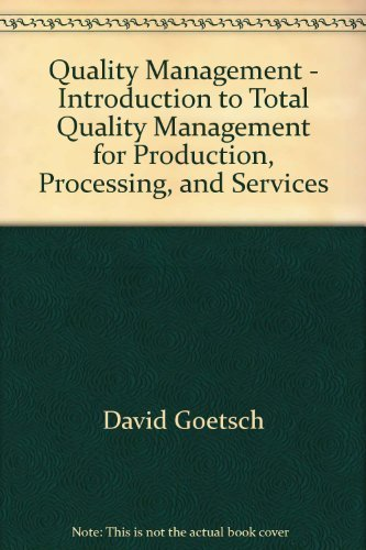 Quality Management - Introduction to Total Quality: David Goetsch, Stanley