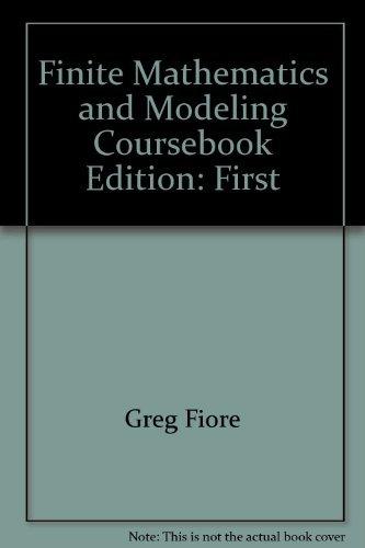 9780536751287: Finite Mathematics and Modeling Coursebook