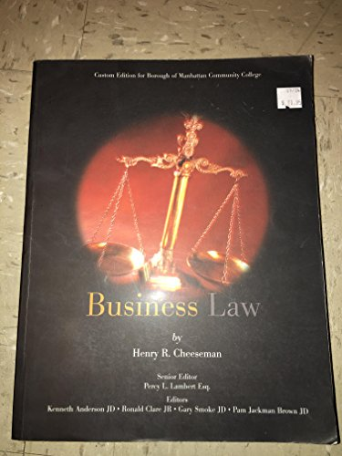 9780536841377: Business Law (manhatten community college)