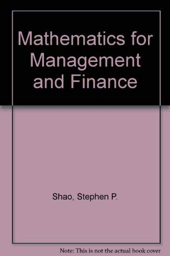 9780538133203: Mathematics for management and finance