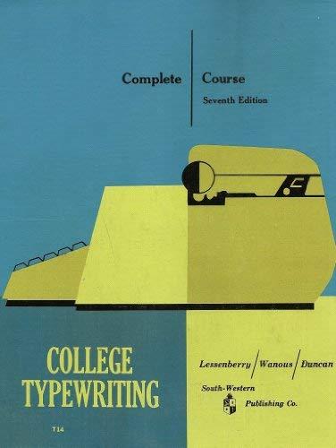 College Typewriting: Lessenberry, D.D. /
