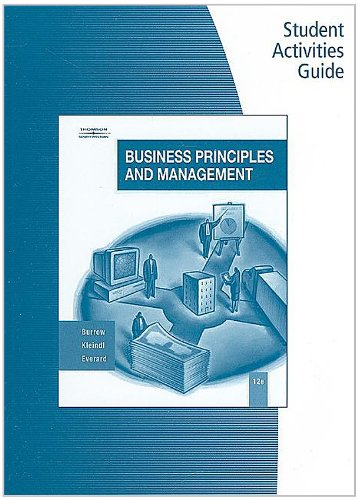 9780538444705: Student Activity Guide for Burrow/Kleindl's Business Principles and Management, 12th
