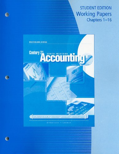 9780538447089: Working Papers, Chapters 1-16 for Gilbertson/Lehman's Century 21 Accounting: Multicolumn Journal, 9th