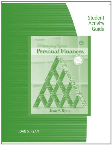 9780538449397: Student Activity Guide for Ryan's Managing Your Personal Finances, 6th