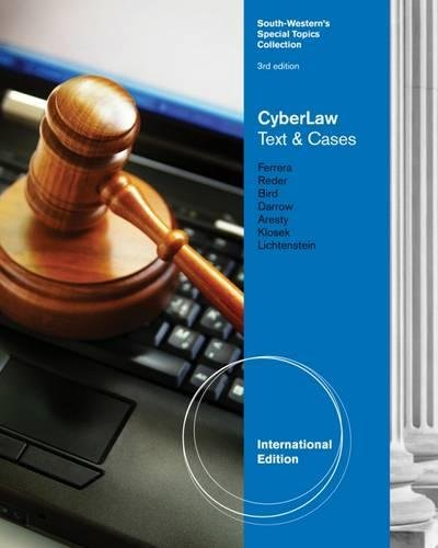 9780538477444: CyberLaw Text and Cases