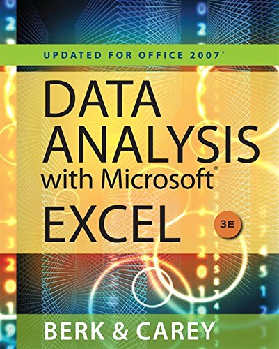 9780538494670: Data Analysis with Microsoft Excel: Updated for Office 2007 (with Web Site Printed Access Card)