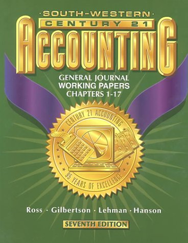 9780538676724: Century 21 Accounting General Journal Approach - Working Papers Chapters 1-26