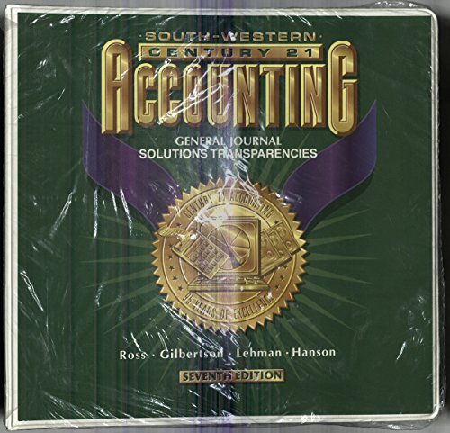 South-Western Accounting: General Journal Solution Transparencies (7th Edition): Ross, Gilbertson, ...