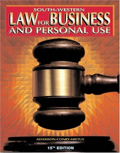 9780538683548: Law for Business and Personal Use - Student Activities and Study Guide (Business Law)