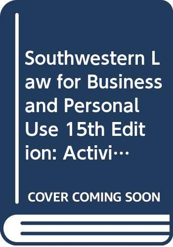 9780538683616: Southwestern Law for Business and Personal Use, 15th Edition: Activities and Study Guide, Teacher's Edition