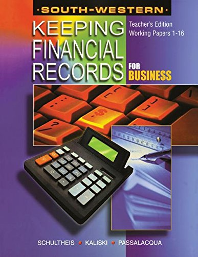 9780538691932: Keeping Financial Records for Business: Working Papers TEACHER'S EDITION 1-16
