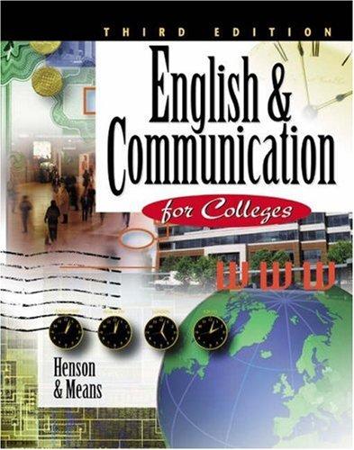 English & Communication for Colleges: Carol Henson/ Thomas