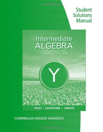 9780538734028: Student Solutions Manual for Tussy/Gustafson/Koenig's Intermediate Algebra, 4th