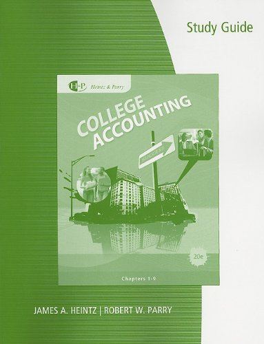 9780538737050: Study Guide with Working Papers, Chapter 1-9 for Heintz/Parry's College Accounting, 20th + Combination Journal Module