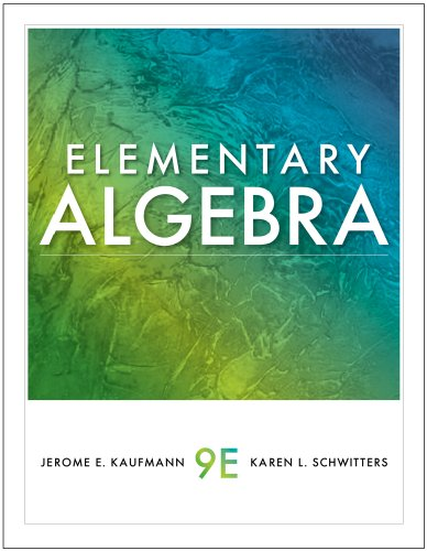 9780538739566: Student Solutions Manual for Kaufmann/Schwitters' Elementary Algebra, 9th
