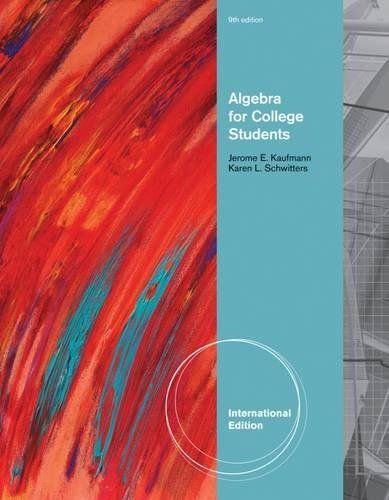 9780538797375: Algebra for College Students, International Edition