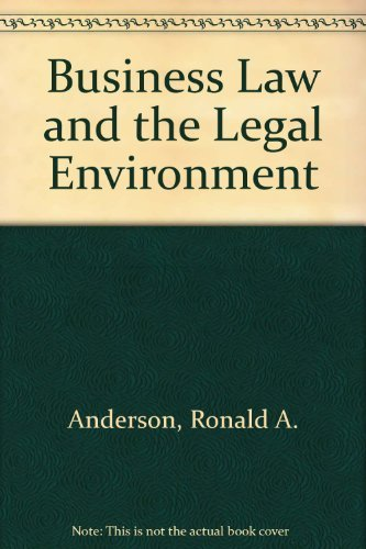 Business Law: Ucc Standard Volume: Anderson, Ronald A.;