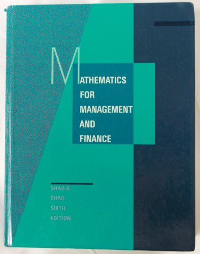 Mathematics for Management and Finance: Shao, Stephen Pinyee