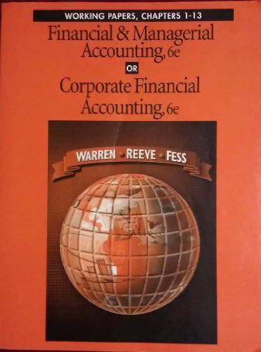 Working Papers for Financial Accounting: Carl S. Warren,