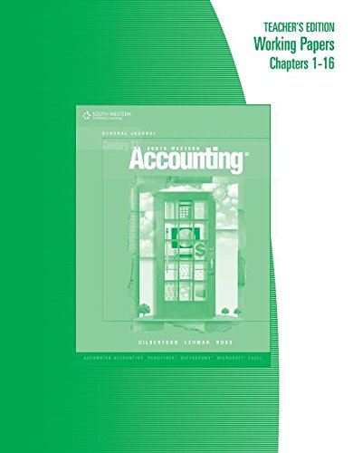 9780538972697: South-Western: Century 21 Accounting - General Journal - Teacher's Edition Working Papers Chapters 1-16 (GENERAL JOURNAL, CENTURY 21 ACCOUNTING)