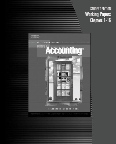 9780538972833: Working Papers, Chapters 1-16 for Gilbertson/Lehman/Ross' Century 21 Accounting: Multicolumn Journal, 8th