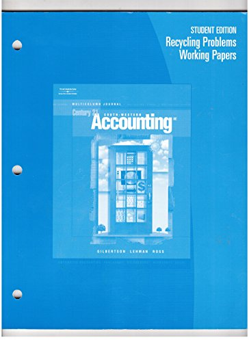 9780538972857: Recycling Problems Working Papers for Gilbertson/Lehman/Ross' Century 21 Accounting: Multicolumn Journal, 8th
