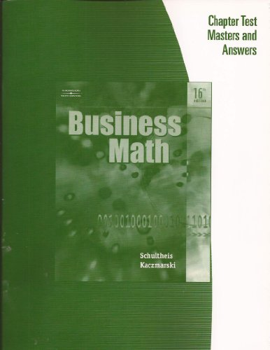 9780538974783: South-Western: Business Math - Chapter Test Masters and Answers