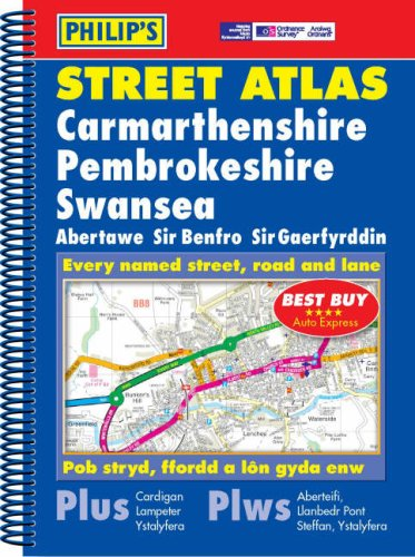 9780540086610: Philip's Street Atlas Carmarthenshire, Pembrokeshire and Swansea: Spiral Edition (Philip's Street Atlases)