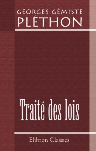 Traité des lois, ou Recueil des fragments, en partie inédits, de cet ouvrage: Texte ...