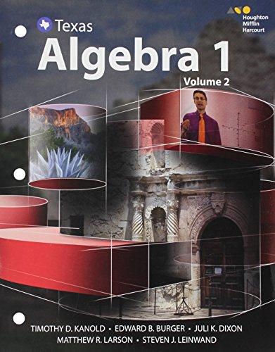 9780544353879: HMH Algebra 1 Texas: Interactive Student Edition Volume 2 2016