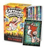 Most Ultimate Captain Underpants Collection, Books 1-8 Complete 8-Book Boxed Set and Jumbo Sticker