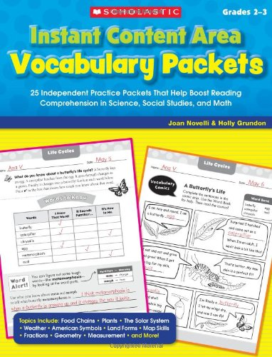 Instant Content Area Vocabulary Packets: 25 Independent Practice Packets That Help Boost Reading ...