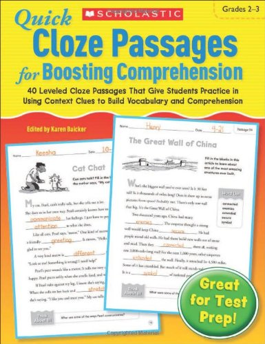 9780545301084: Quick Cloze Passages for Boosting Comprehension 2-3: 40 Leveled Cloze Passages That Give Students Practice in Using Context Clues to Build Vocabulary and Comprehension