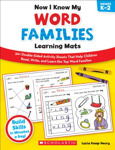 9780545397032: Now I Know My Word Families Learning Mats: 50+ Double-Sided Activity Sheets That Help Children Read, Write, and Really Learn the Top Word Families