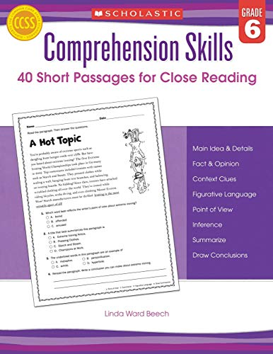 9780545460576: Comprehension Skills: Short Passages for Close Reading: Grade 6