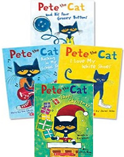 9780545783064: Pete the Cat Paperback Book Set: Includes 4 Books: ? I Love My White Shoes ? Pete the Cat and His Four Groovy Buttons ? Pete the Cat Saves Christmas ? Rocking in My School Shoes