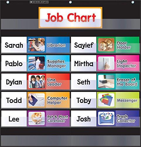 9780545838641: Class Jobs - Black Pocket Chart