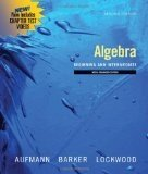 DVD for Aufmann/Barker/Lockwood's Introductory Algebra: An Applied Approach, Student Support Edition, 7th (054711849X) by Richard N. Aufmann; Vernon C. Barker; Joanne Lockwood