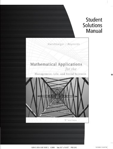 9780547169972: Student Solutions Manual for Harshbarger/Reynolds' Mathematical Applications for the Management, Life, and Social Sciences, 9th