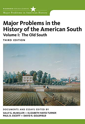 9780547228310: Major Problems in the History of the American South, Volume 1 (Major Problems in American History Series)