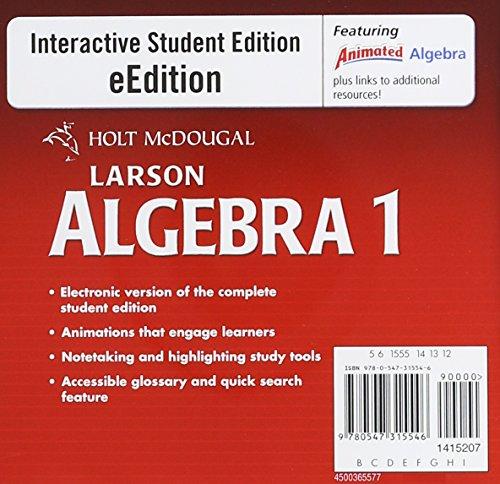 9780547315546: Holt McDougal Larson Algebra 1: eEdition DVD-ROM 2011