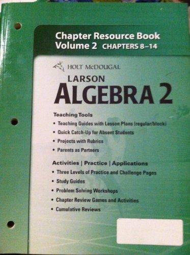 9780547353012: Holt McDougal Larson Algebra 2: Chapter Resource Book, Volume 2