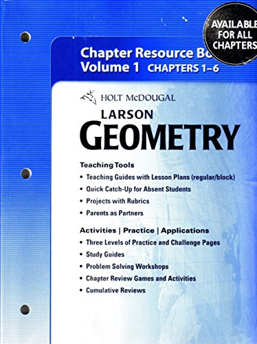 9780547353173: Holt McDougal Larson Geometry: Chapter Resource Book, Volume 1