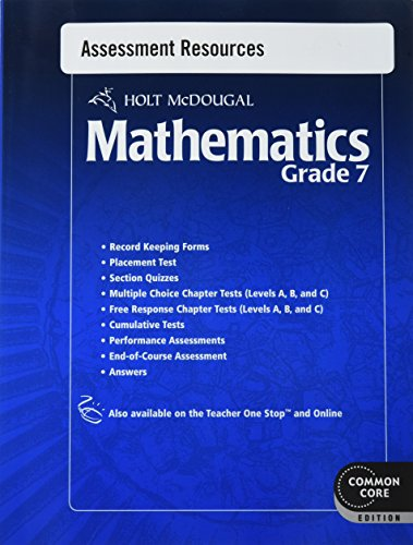 Holt McDougal Mathematics: Common Core Assessment Resources with Answers Grade 7: MCDOUGAL, HOLT