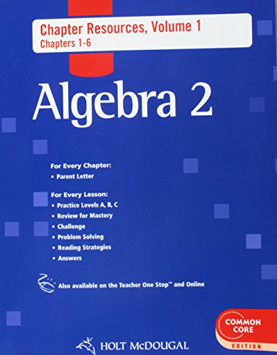 9780547710556: Holt McDougal Algebra 2: Chapter Resource Book with Answers Volume 1