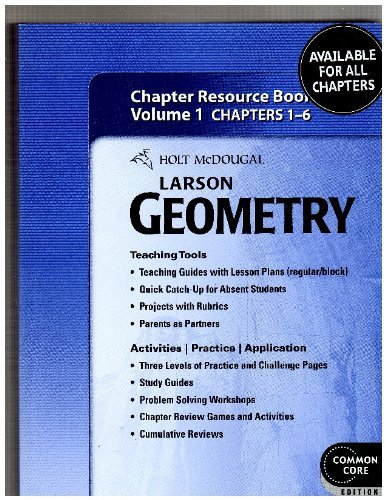 9780547710761: Holt McDougal Larson Geometry: Chapter Resource Book, Volume 1