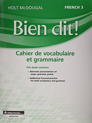 9780547951850: Bien dit!: Vocabulary and Grammar Workbook Student Edition Level 3 (French Edition)