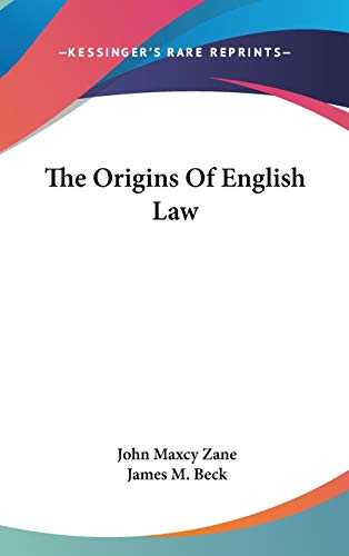 9780548079300: The Origins Of English Law