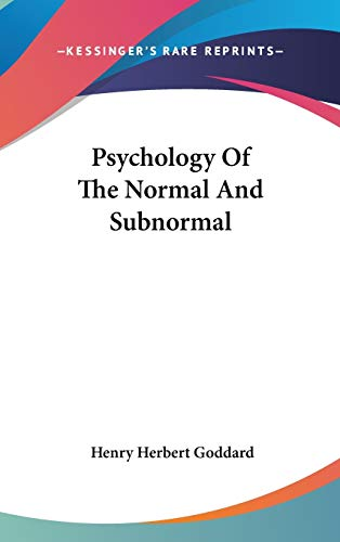 9780548105214: Psychology Of The Normal And Subnormal