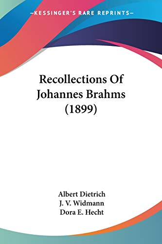 9780548764077: Recollections Of Johannes Brahms (1899)